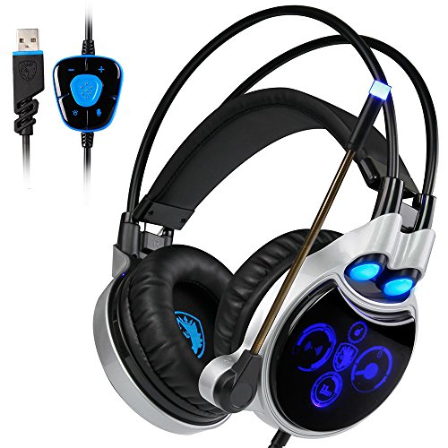 LED Gaming Headset for PC Laptop Mac, SADES R8 7.1 Virtual C