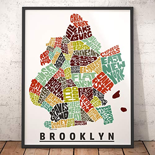 BROOKLYN neighborhood Map Art Print, Unique Brooklyn Decor, Artist signed typography map art print series, Many sizes available & highly collected