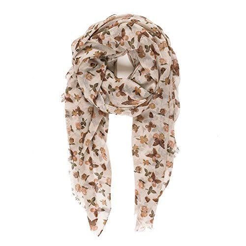 Scarf for Women Lightweight Fashion Spring Winter Beige Brown Butterfly Floral Flower Scarves Shawl Wraps by Melifluos (Brown Viscose Scarf)