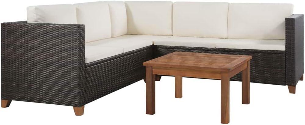 vidaXL Juego de Sofás de Jardín Ratán PE Marrón y Blanco Muebles Exterior: Amazon.es: Hogar