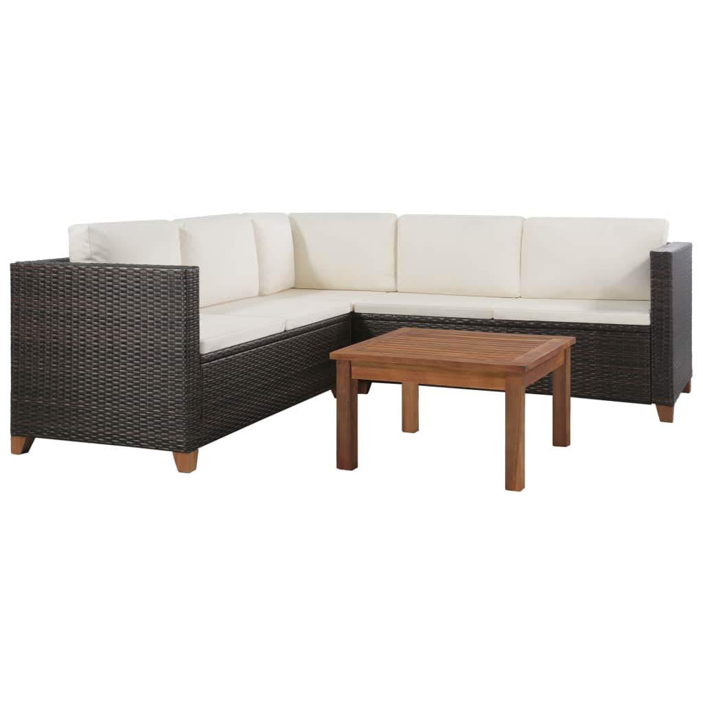Festnight Gartensofa-Set 15-TLG. | Poly Rattan Lounge Set Lounge Möbel | Lounge Sofa Garnitur | Rattan Gartenmöbel Gartenset | Garten Sitzgruppe | Gartengarnitur | Braun und Weiß Poly Rattan