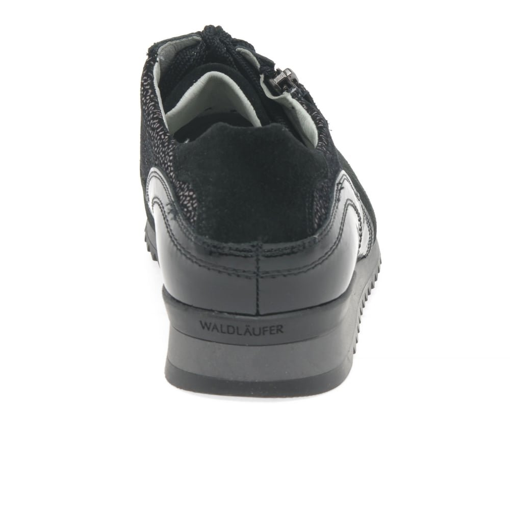 d1c2783ce88 Waldlaufer Lake Womens Casual Wide Fit Trainers 7.5 Black Suede Print   Amazon.co.uk  Shoes   Bags