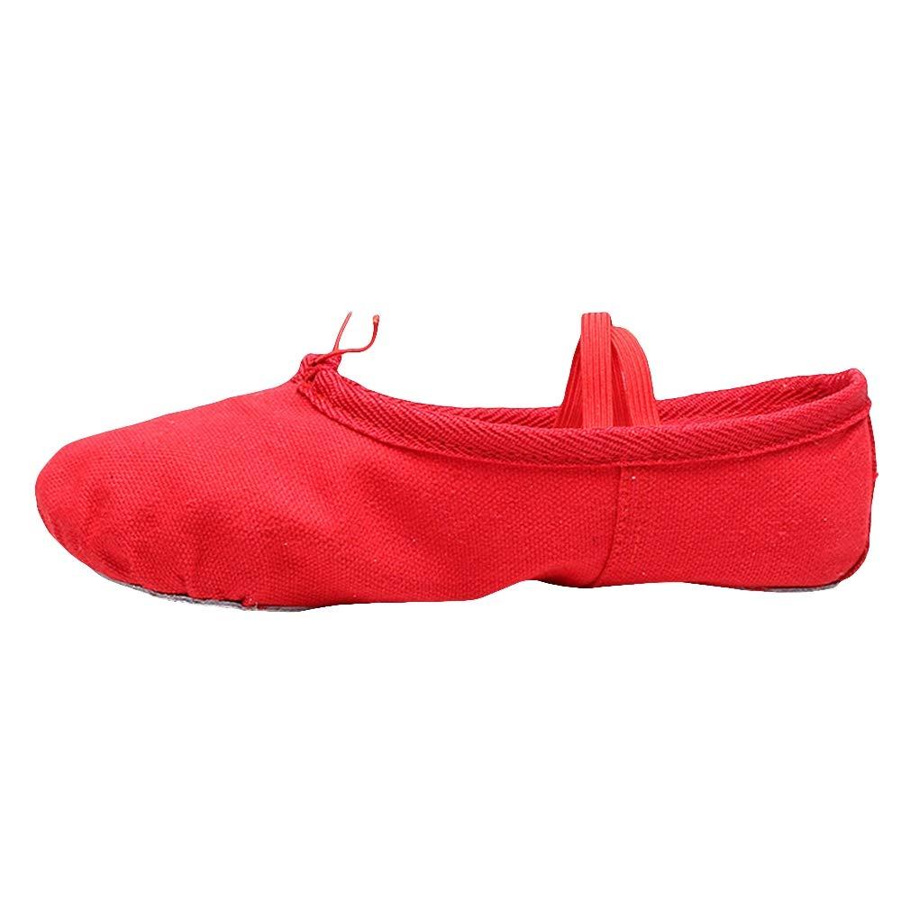 Bigood Yoga Soft Canvas Flat Ballet Dance Shoes Gymnastics Slippers for Girls Adults