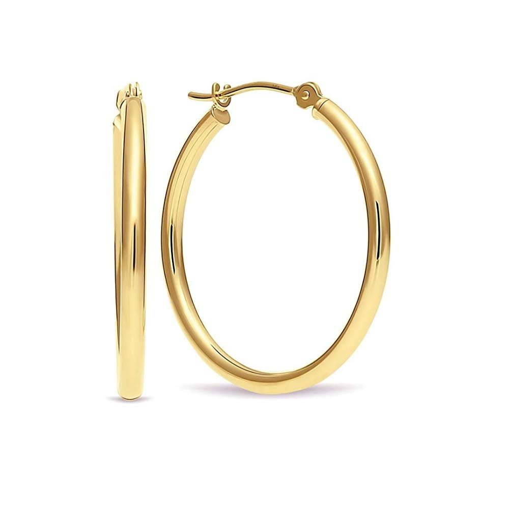 14k Yellow Gold 1 inch Round Hoop Earrings by Parade of Jewels