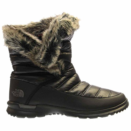 Apres Ski Boots - The North Face Women's Thermoball Microbaffle Bootie II Shiny Smoked Pearl Grey/Subtle Green (Prior Season) 7 B US B (M)