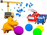 Learn vehicles and forms with Dino The Dinosaur: Balls and Trampoline / The Demolition Crane