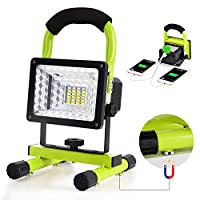 Work Light, Led Work Light with Magnetic Stand GRDE Portable Rechargeable Battery Flood Light 15W 24LED SOS Mode Outdoors Camping Emergency Light w
