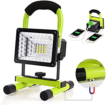 Work Light, Led Work Light with Magnetic Stand GRDE Portable Rechargeable Battery Flood Light 15W 24LED SOS Mode Outdoors Camping Emergency Light with 2 USB Ports to Charge Digital Devices (Green)