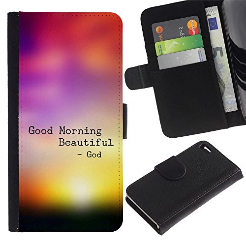 LASTONE PHONE CASE / Luxe Cuir Portefeuille Housse Fente pour Carte Coque Flip Étui de Protection pour Apple Iphone 4 / 4S / BIBLE Good Morning Beautiful