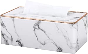 KINGFOM PU Leather Facial Tissue Box Napkin Holder for Home Office, Car Automotive Decoration - Rectangular (Gray Marble Pattern)