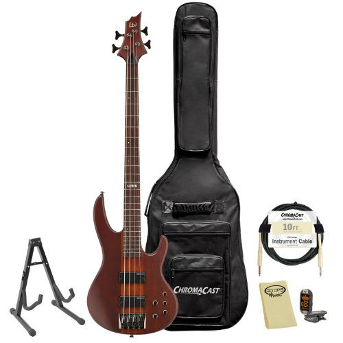ESP LTD D-4-NS Natural Satin 4-String Electric Bass w/ Accessories & Gig Bag by GoDpsMusic