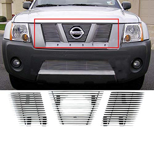 EAG 05-08 Nissan Xterra Billet Grille Overlay Aluminum Polished 4mm Horizontal With Logo Covered ()