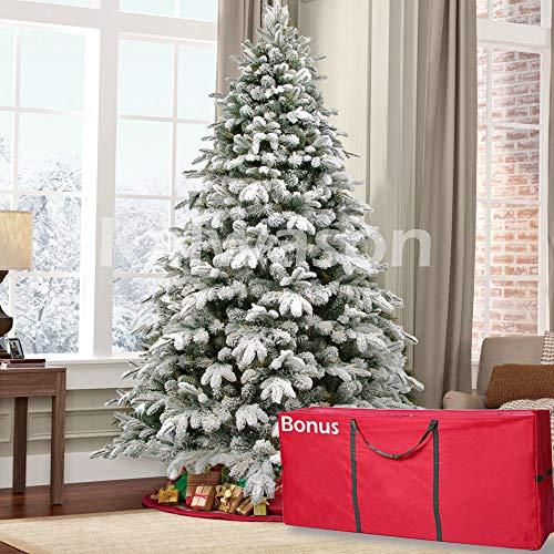 kalwason 7ft Flocked Artificial Christmas Tree Snowy Spruce Unlit Xmas Tree Include Storage Bag, 51'...