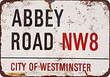 Beatles Abbey Road Vintage Look Reproduction Metal Tin Sign 12X18 - Sign Abbey Street Road