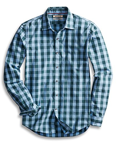 Goodthreads Men's Slim-Fit Long-Sleeve Gingham Plaid Poplin Shirt, Blue/Green, Medium