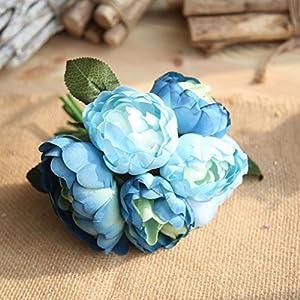 GoodLock 6 Heads Artificial Peony Silk Flower Leaf Home Wedding Decoration Party Home Decor 1 Bouquet 4