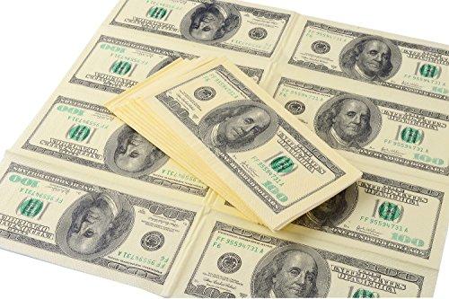 Napkins,Amazlab Print Gag Prank Joke Napkins, Copy Retro $100 American Dollars Napkins ,Funny Napkins for Party ,Banter Money Napkins ,4 Packs (40 Napkins in (Party Dollar)