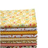 KINGSO 8PCS Cotton Fabric Bundles Quilting Sewing Patchwork Cloths DIY Craft 19.7x19.7inch Yellow Series