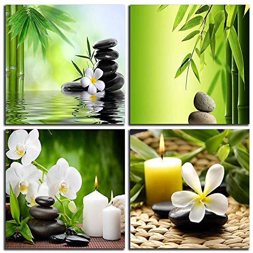 (NAN Wind Modern 4 Panel Zen Giclee Canvas Print Wall Art Spa Massage Treatment Pictures on Canvas Wall Art for Home Office Decorations Living Room Bedroom)