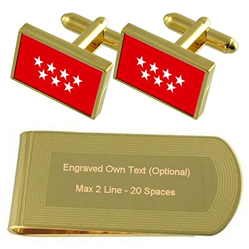 Set Money Clip Flag tone Madrid Gift Cufflinks Engraved Gold qR86wwnI