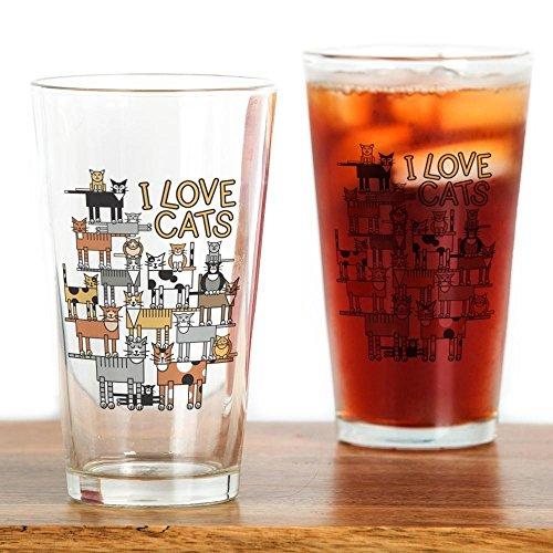 (CafePress I LOVE CATS Pint Glass, 16 oz. Drinking Glass )
