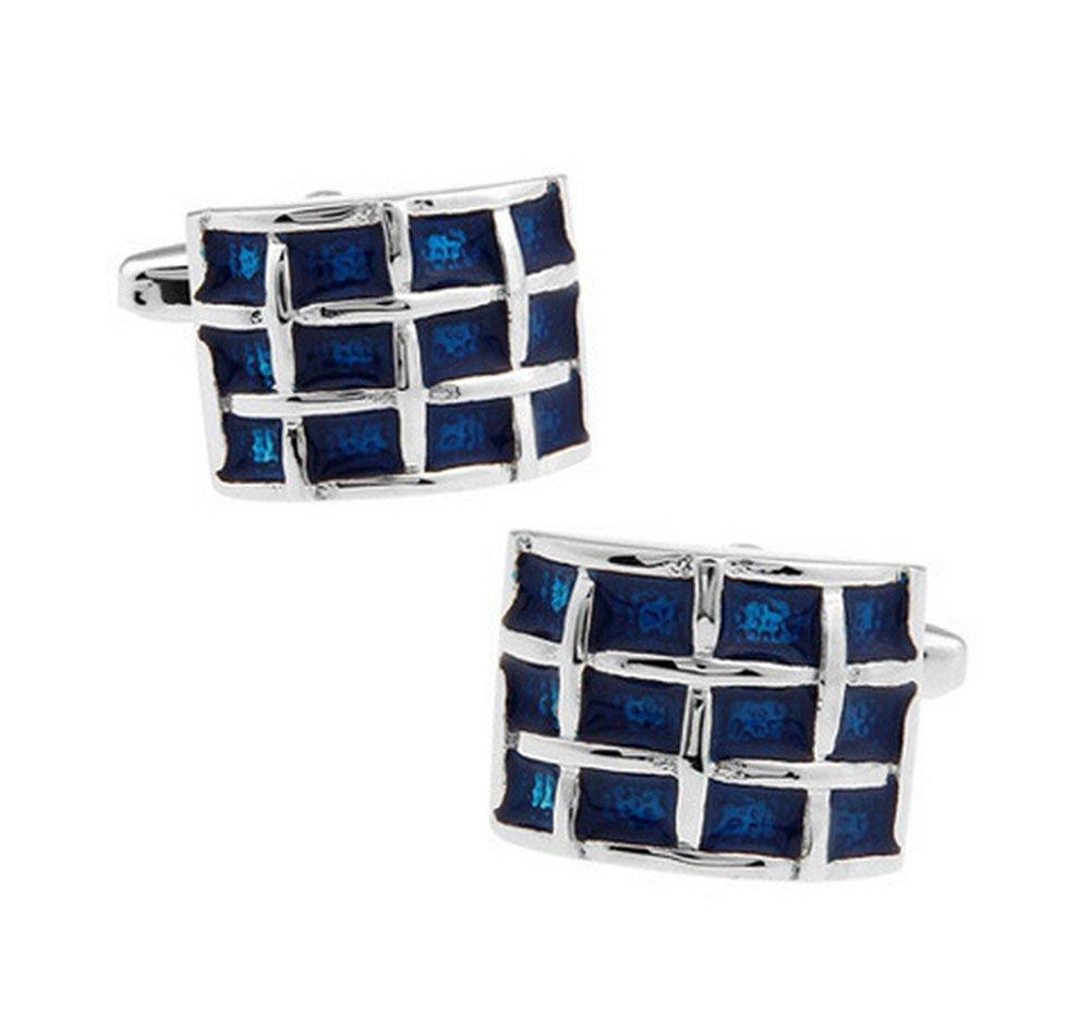 Hosaire Cufflinks Men's Fashion Gentleman Blue Lattice Cuff Link Delicate Cuff-link for Wedding