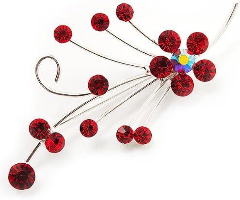 Avalaya Silver Tone Red Diamante Floral Brooch