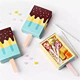 50 Pcs Ice Cream Shape Gift Boxes Kids Birthday Party Candy Box Kids Party Favor Box (Blue)