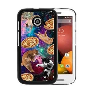 RCGrafix Brand Springink Hipster Cat Flying Pizza Nebula Space Motorola Moto E Cell Phone Protective Cover Case - Fits Motorola Moto E