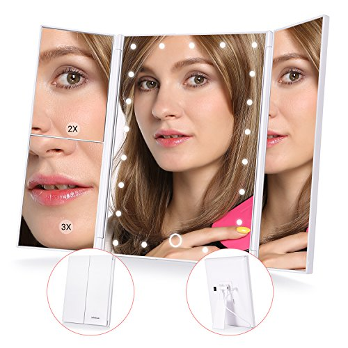MelodySusie Lighted Makeup Mirror - Trifold Travel Vanity Mirror with Lights, 21pcs -