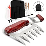 Monbix 10 Pieces Pulled Pork Claws with Wooden Handle - Stainless Steel Meat Handler Set with Professional Accessories (Spatulas/Condiments Bottles/Apron/Meat Injector) and Belt Bag