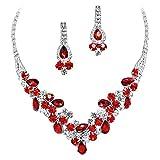 Elegant Red V-Shaped Garland Prom Bridesmaid Evening Necklace Set Silver Tone L1