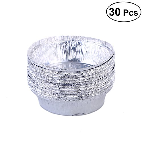 BESTONZON 30pcs Aluminium Foil Food Containers Plate Round Disposable Barbecue Plate (No Lids) ()