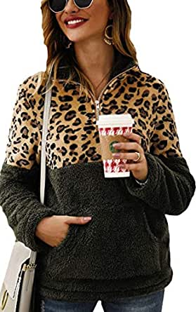 Angashion Womens Long Sleeve Half Zip Up Warm Fuzzy Leopard Print Patchwork Fleece Pullover Tops with Pocket for Winter Army Green S