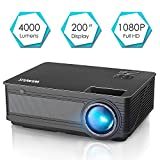 Projector, WiMiUS P18 4000 Lumens LED Projector Support 1080P 200' Display 50,000H LED Compatible with Amazon Fire TV Stick Laptop iPhone Android Phone Xbox Via HDMI USB VGA AV Black