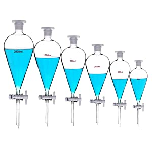 Borosilicate Glass 2000ML Separating Funnel Heavy Wall Conical Separatory Funnel with PTFE Stopcock Lab,Pyrex,Food,pear - 2L