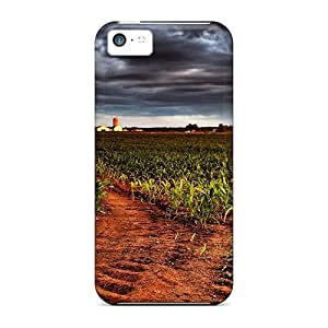 Iphone 5c Hard Back With Bumper Silicone Gel Tpu Case Cover Field With Thunderclouds Hdtv 1080p