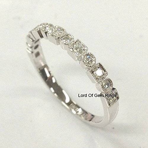 Amazon.com: Moissanite Wedding Band Half Eternity Anniversary Ring