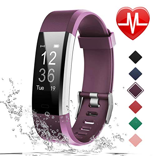 LETSCOM Fitness Tracker HR, Activity Tracker Watch with Heart Rate Monitor, Waterproof Smart Bracelet with Step Counter, Calorie Counter, Pedometer Watch for Kids Women and Men - Heart Rate Pedometer