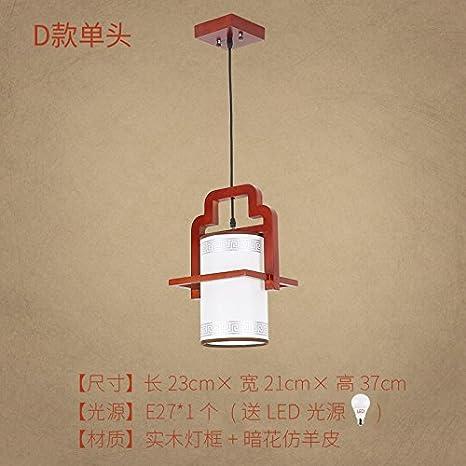 ... madera clásica China viento creativo tres restaurantes restaurante simple lámparas, apartado d 1 primero enviado bombillas LED: Amazon.es: Iluminación