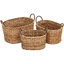 "Deco 79 66545 Metal Wicker Basket S/3 16"", 13"", 11""W"
