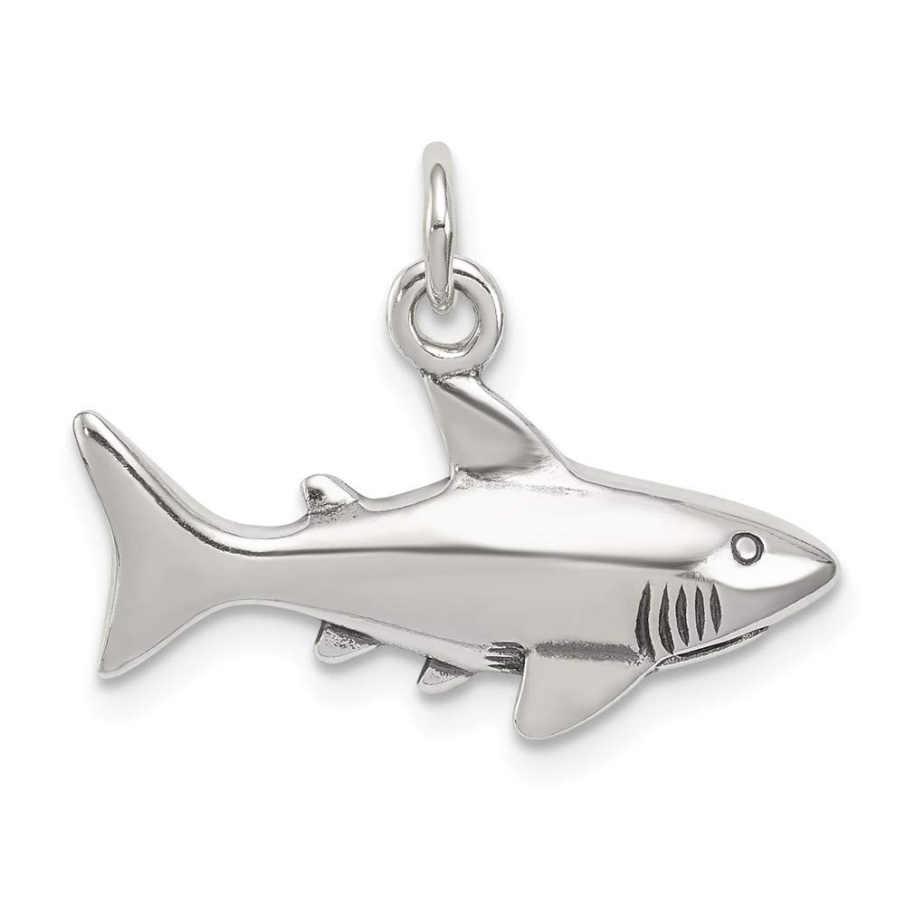 Antique Shark Charm In 925 Sterling Silver 16x22mm