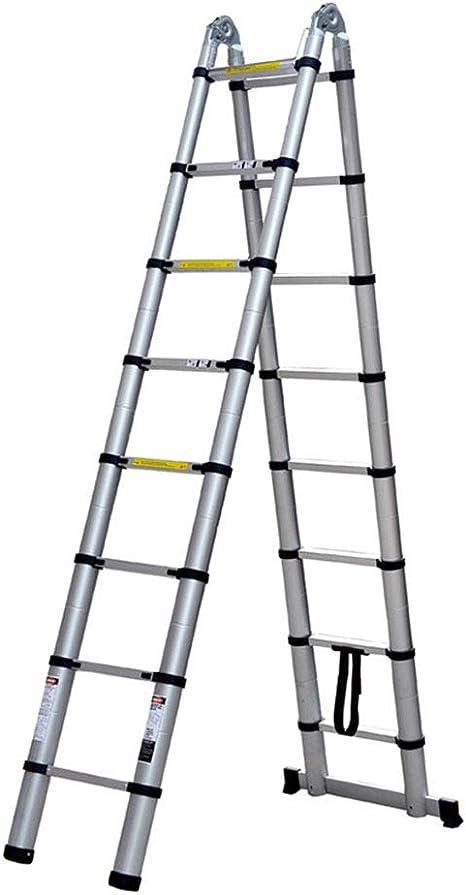 ZWYY Escaleras de extensión, Escalera telescópica de Aluminio Multifunción Un Marco Escaleras telescópicas para Mantenimiento de Edificios, Limpieza de Ventanas 1.9m: Amazon.es: Jardín