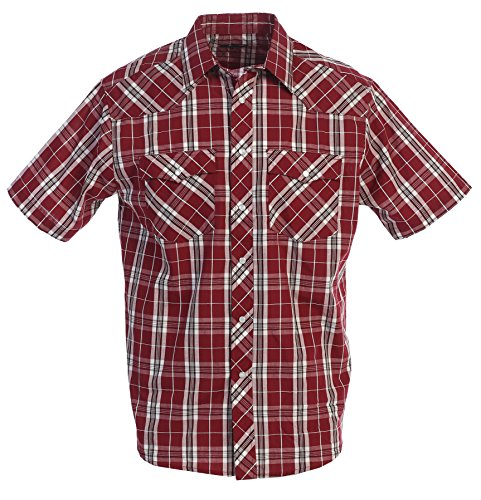 Gioberti Men's Plaid Western Shirt, Burgundy/White Band, Med