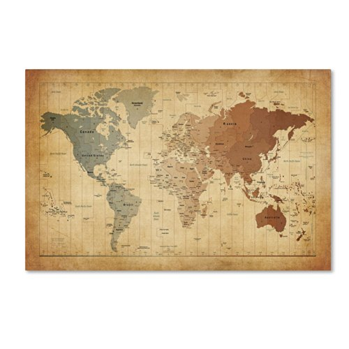 Time Zones Map Of The World Artwork By Michael Tompsett  35 By 47 Inch Canvas Wall Art