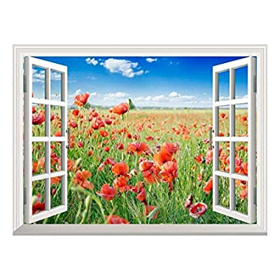 Astonishing Piece, Removable Wall Sticker Wall Mural Beautiful Poppy Field in The Spring Creative Window View Wall Decor, Professional Creation