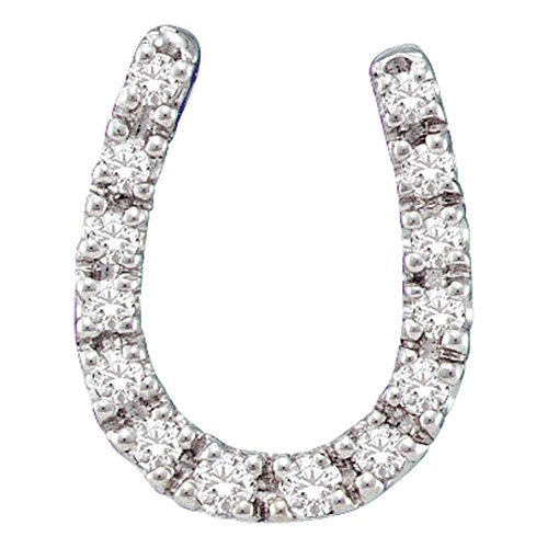 Horseshoe Diamond Jewelry (Roy Rose Jewelry 14K White Gold Ladies Diamond Horseshoe Pendant 1/10 Carat tw)