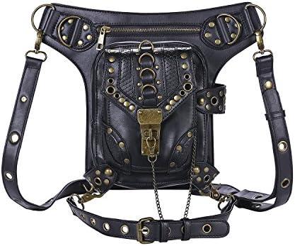 Cestlafit Nuevas Mujeres Hombres Piel Steampunk Punk Bolso De Hombro Vintage Paquetes De Cintura Pierna Bolsas, CFB002
