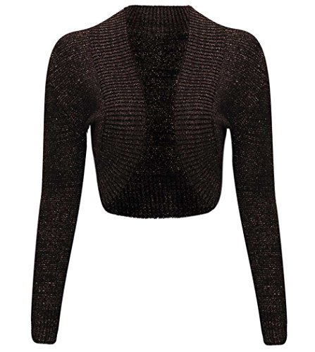 Thever Women Ladies Long Sleeve Knitted Metallic Lurex Shrug Cardigan Bolero Crop Top (S/M(6-8), Brown)
