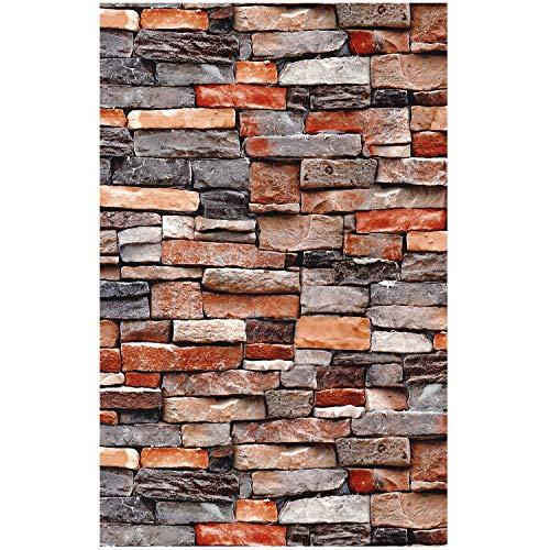 HaokHome 221302 Faux Brick Wallpaper Red Multi Rust Stone Wallpaper 20.8